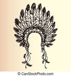 indian americano, chefe, headdress, nativo