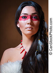 indian americano, com, rosto, camuflagem