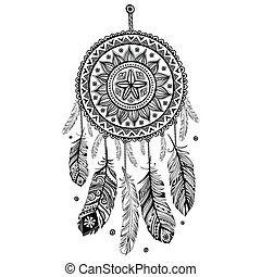 indian americano, sonhe agarrador, étnico