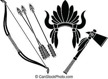indian americano, tomahawk, headdress