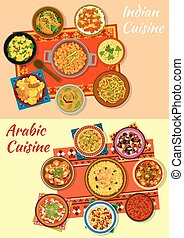 Indian and arabic cuisine traditional dishes icon