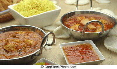 Indian and Chinese Food - Pan view of indian and chinese...