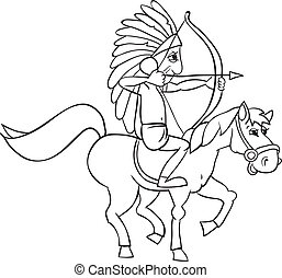 Indian and horse - American Indian on horseback. B&W outline...