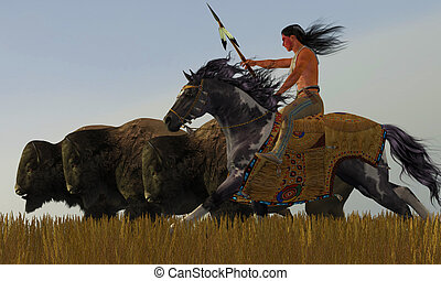 Indian and Paint Horse - A herd of bison scatter in a...