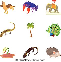 Indian animal icons set, cartoon style