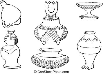 Indian antiquities, Objects in the ground, vintage engraving.