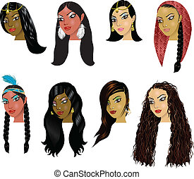Vector Illustration of Indian, Arab and Native American Women Faces. Great for avatars, makeup, skin tones or hair styles of various women.