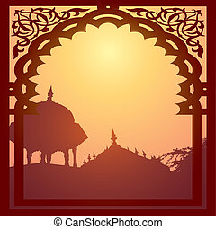 Indian arch and architecture at sunset