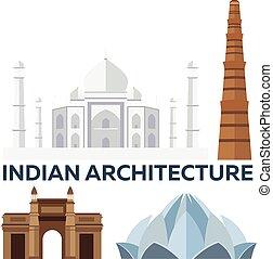Indian Architecture. Modern flat design. Taj mahal, Lotus temple, gateway of India, Qutab Minar.