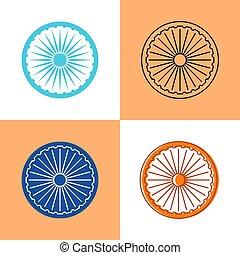 Indian Ashoka Chakra icon set in flat and line styles