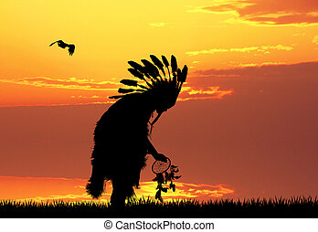 Indian at sunset - illustration of Indian at sunset