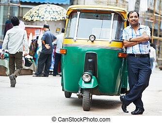 Indian auto rickshaw tut-tuk driver man - Indian auto...