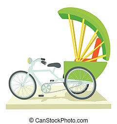 Indian bicycle icon, cartoon style