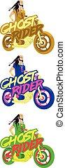 Indian biker on a motorbike. Colourful illustration