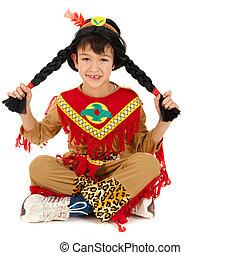 Indian boy isolated on white