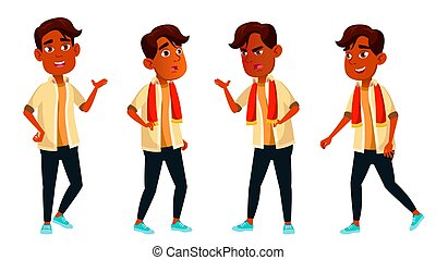 Indian Boy Poses Set Vector. High School Child. Secondary Education. Educational, Auditorium, Lecture. For Card, Advertisement, Greeting Design. Isolated Cartoon Illustration