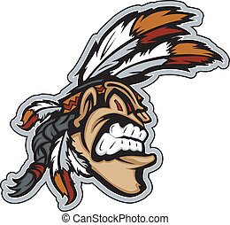 Cartoon Indian Brave Native American Mascot with Feathers and Face Paint