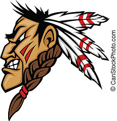 Indian Brave Mascot Head Vector Cartoon - Cartoon Native...
