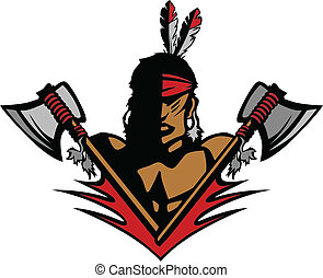 Graphic Native American Indian Brave Mascot with tomahawks and Feathers