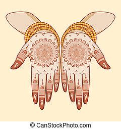 Indian bride with mehandi in hand in vector