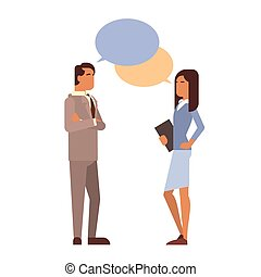 Indian Business Man Woman With Chat Bubble Communication...
