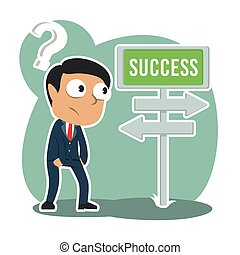 Indian businessman confuse with success direction