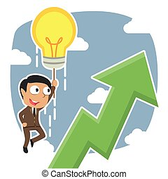 Indian businessman fly with his idea and see upward graphic