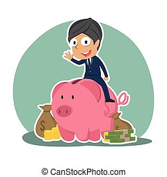 Indian businessman on piggy bank with a lot of money
