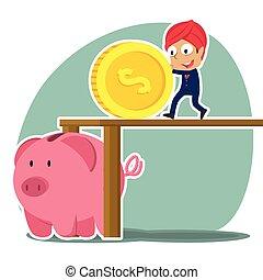 Indian businessman pushing big coin into piggy bank