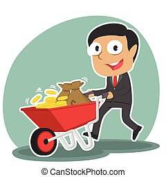 Indian businessman pushing wheelbarrow full of coins