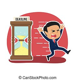 Indian businessman running away from deadline