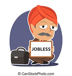 Indian businessman with jobless board sign
