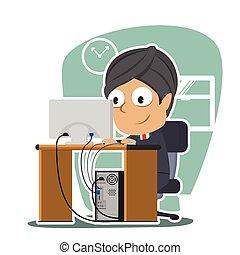 Indian businessman working illustration design