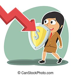 Indian businesswoman blocking down graph with shield