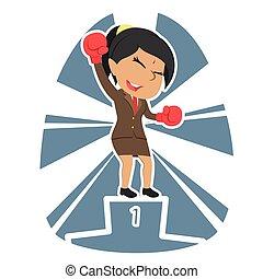 Indian businesswoman boxer champion color