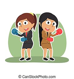 Indian businesswoman fighting together color