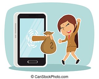 Indian businesswoman happy got money from smartphone