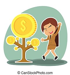 Indian businesswoman happy her coin tree grow