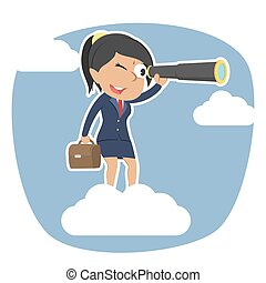 Indian businesswoman on clouds looking through monocular