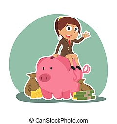 Indian businesswoman on piggy bank with a lot of money