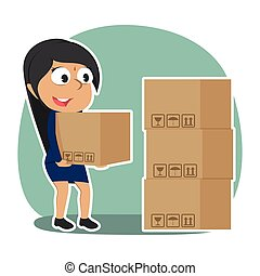 Indian businesswoman pile up boxes