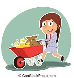 Indian businesswoman pushing wheelbarrow full of coins