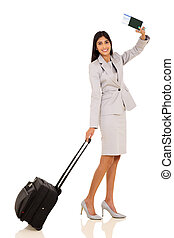 indian businesswoman waving goodbye