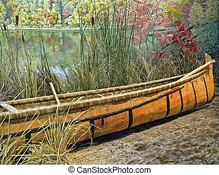 canoe - Indian canoe on lake shore.