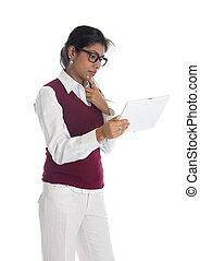 indian casual business woman with generic looking tablet