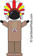 Indian Chief - simple drawing of an Indian Chief figure with...