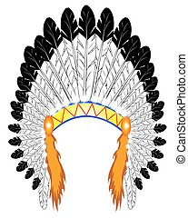 indian chief - feather headdress Indian chief on a white ...