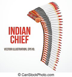 Indian chief hat with plumage. Side view. Vector