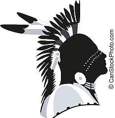 Indian Chief Head Graphic Vector illustration