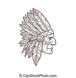 Indian chief head sketch tattoo Indigenous culture